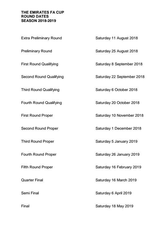 Fa Cup Factfile On Twitter The Facup 2018 19 Dates For Each Round