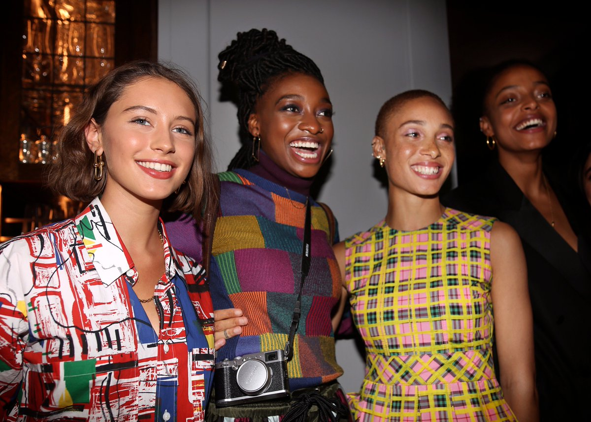 Iris Law and Little Simz celebrating the @Burberry Autumn/Winter Pre-Collection campaign with Adwoa Aboah at 121 Regent Street in London tonight #JuergenXAdwoa