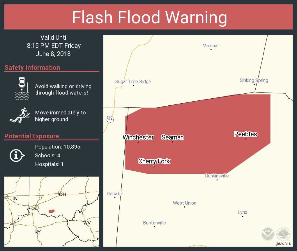 Nws Wilmington Oh On Twitter Flash Flood Warning Including Peebles