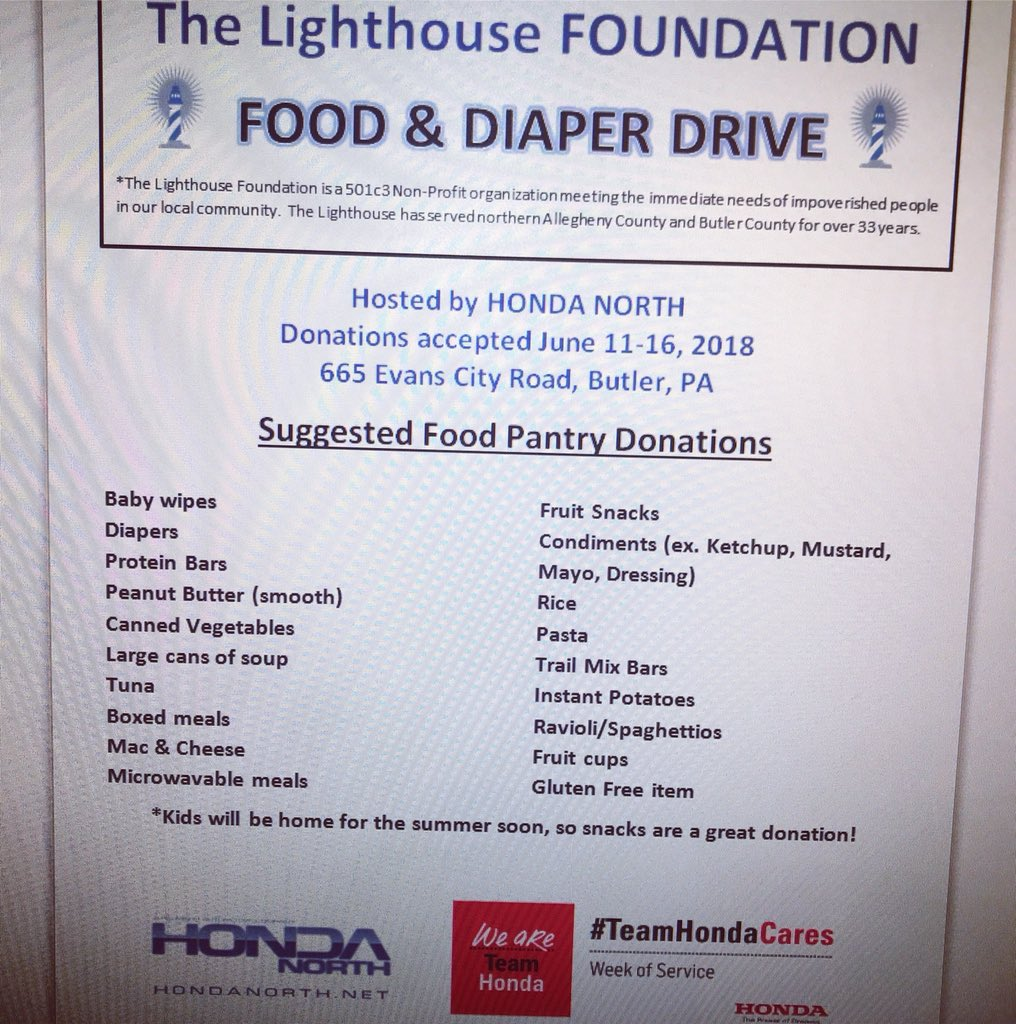 Please Consider Bringing Any Of The Listed Items To Honda North June 8 16 Thank You TeamHondaCares Hondanorthpapictwitter Uiycw82GuM