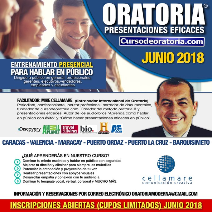 Curso de Oratoria ® y Presentaciones Eficaces. MARACAY: 14-15 Junio oratoriamoderna@ #13Jun Photo