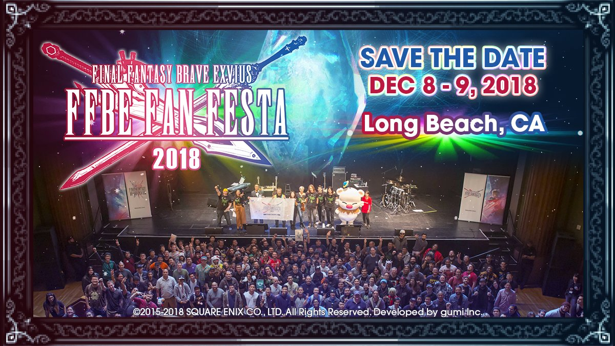 Make way for #FFBEWW Fan Festa 2018 in celebration of our beloved games 2nd anniversary! Join the fun on December 8-9, 2018 at the Long Beach Convention Center in California's Long Beach, USA. Tune in to Square Enix Presents during #E32018 to learn more about the event.