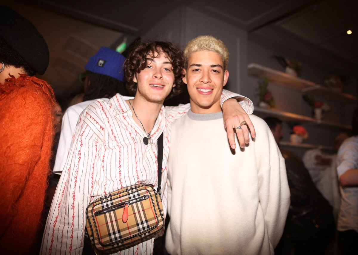 Sonny Hall and Jordan Vickors at the @Burberry Autumn/Winter Pre-Collection campaign event with Adwoa Aboah at 121 Regent Street in London last night #JuergenXAdwoa