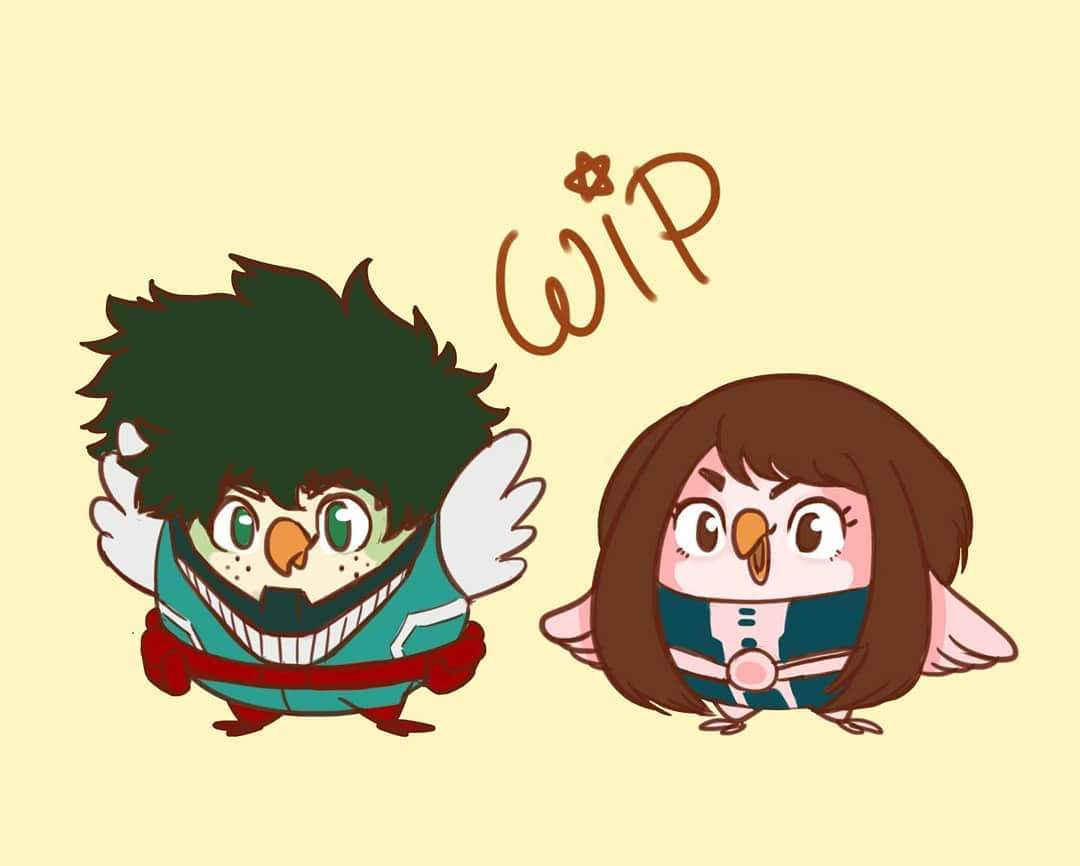 Z Pinktuna On Twitter Not Sure To Make This Into Sticker Or Prints What Do You Guys Think More Little Hero Birdies To Come Burps Heroacademia Bokunoheroacademia Fanart Birds Birdified Uraraka