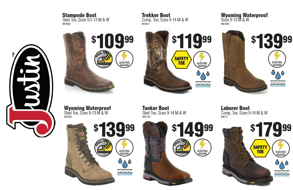 have a wide selection of Justin Boots