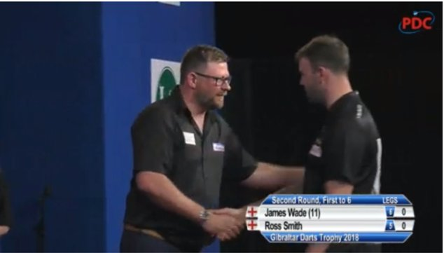 ⚙️ RESULT: James Wade comes from 5-3 down to edge out Ross Smith 6-5 despite his opponent hitting 100% on the doubles! #GDT18