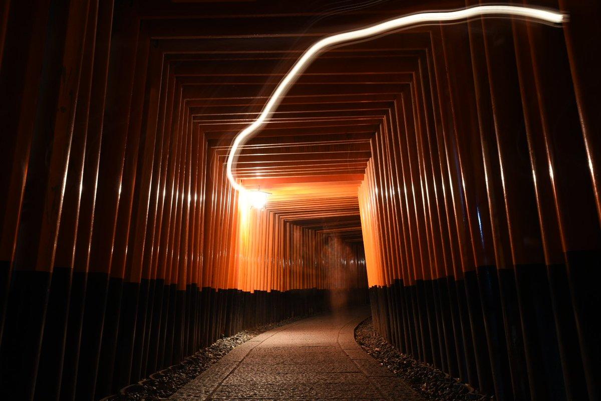 伏見稲荷大社で夜撮影中にヤバいの撮れてしまった…泣きそう…。゚(゚´Д`゚)゚。