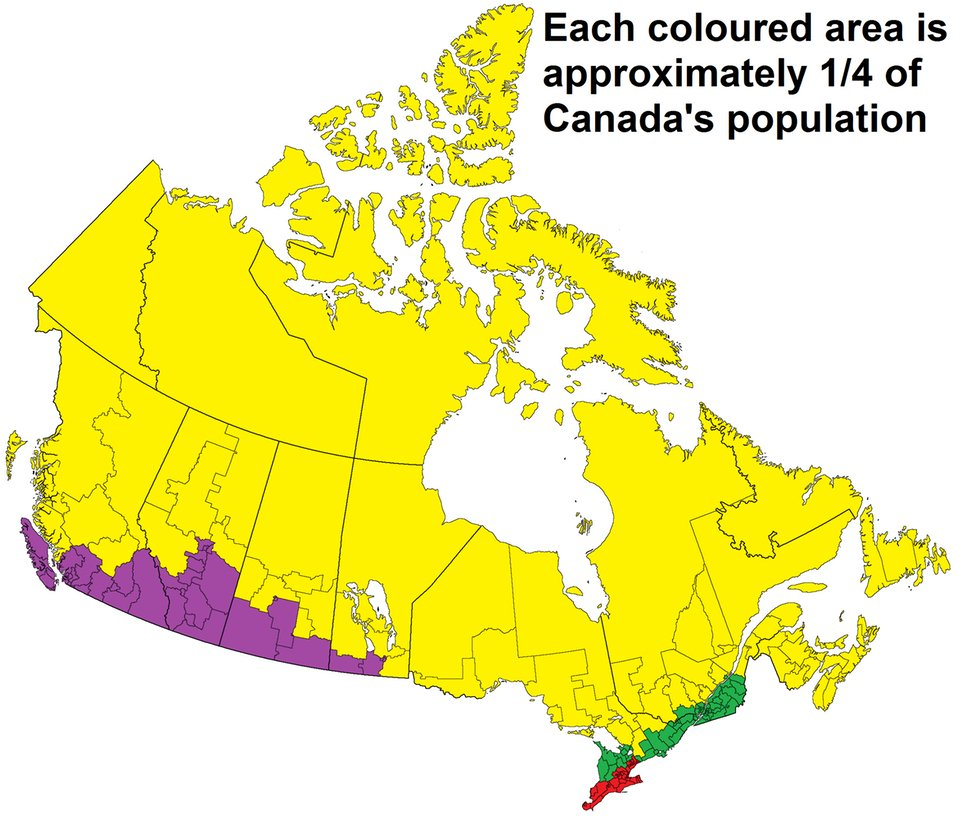 Map Of Canada To Colour.Simon Kuestenmacher S Tweet Map Shows Population Distribution In