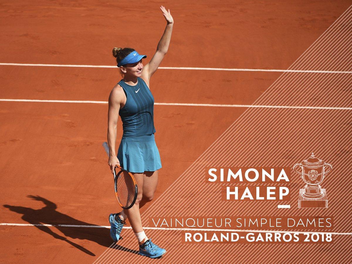 Good things come to those who wait.   @Simona_Halep earns her maiden Major title 3-6 6-4 6-1 over Sloane Stephens.  32e participation à un tournoi du Grand Chelem et tout premier titre Majeur ici à Roland-Garros ! #RG18  👉 https://t.co/fN6jnzRf3z