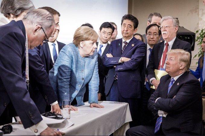 g7 summit funny picture, humor, angela merkel, trump, shinzo abe, emmanuel macron
