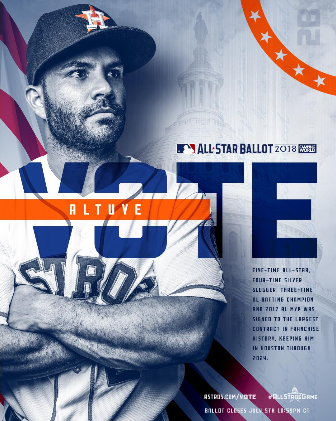 The Hit King. The Road Warrior. The MVP.   #VoteAltuve and make 2018 an #AllStrosGame! https://t.co/C9XSBgkLJz https://t.co/PxmJEzUcHa