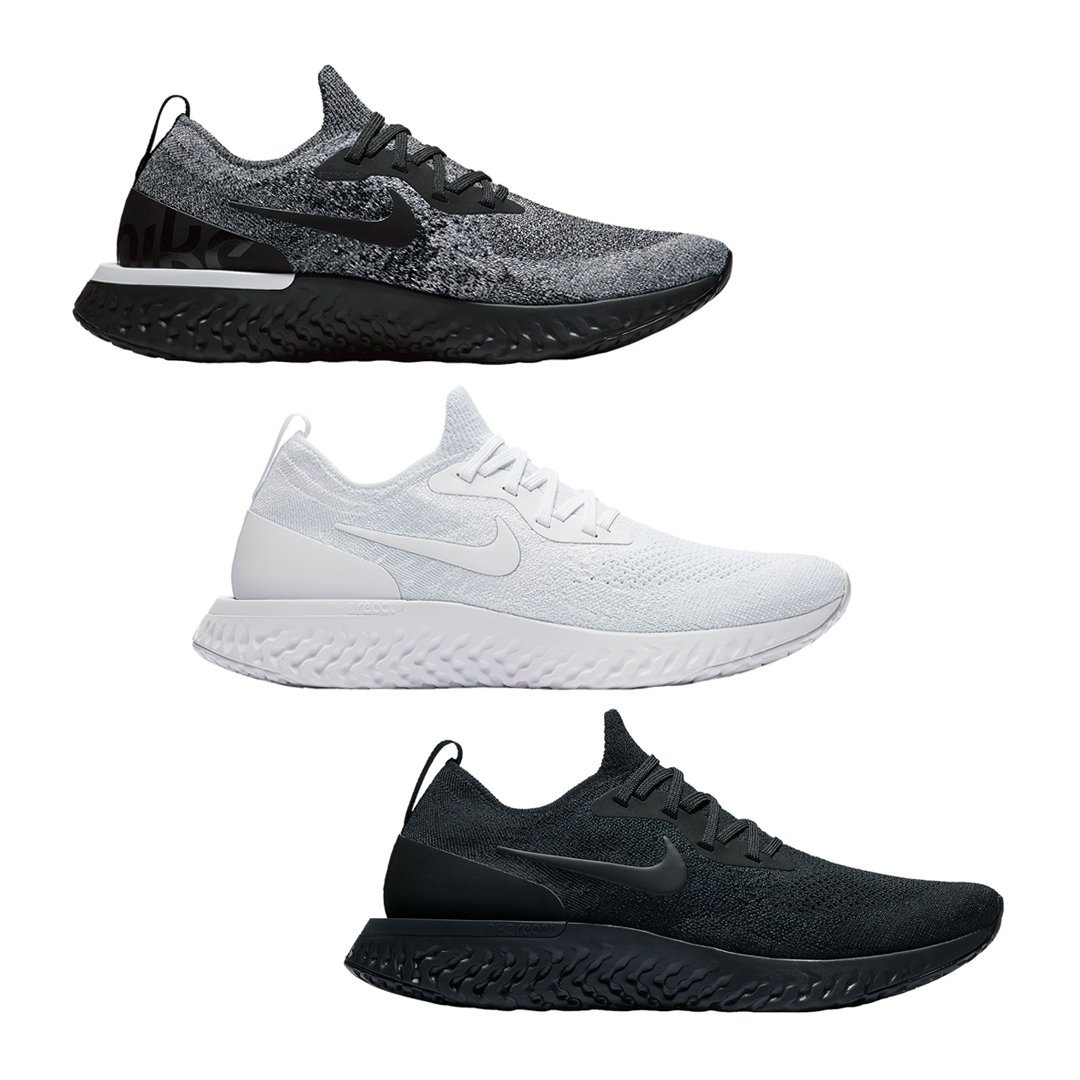 0c1eada2b New colorways of the Nike Epic React Flyknit dropped via @Eastbay Oreo:  http://bit.ly/2Me5W5S Triple White: http://bit.ly/2MeIPrF Triple Black: ...