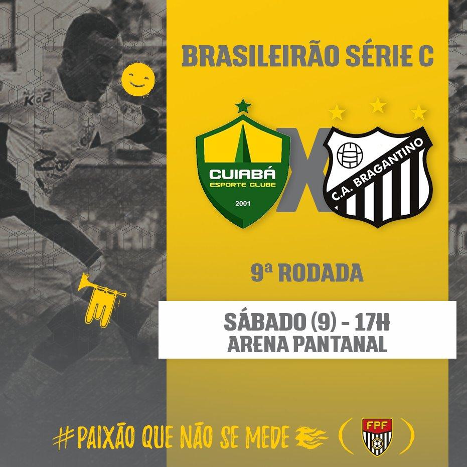 O Bragantino pode entrar no G4 da #SérieC nesta rodada. Para isso, o Massa Bruta vai até o Mato Grosso para enfrentar o Cuiabá. ⚽Cuiabá x Bragantino 🏟Arena Pantanal 🕓17h #PaixãoQueNãoSeMede #FPF #FutebolPaulista #EsseÉoMeuJogo
