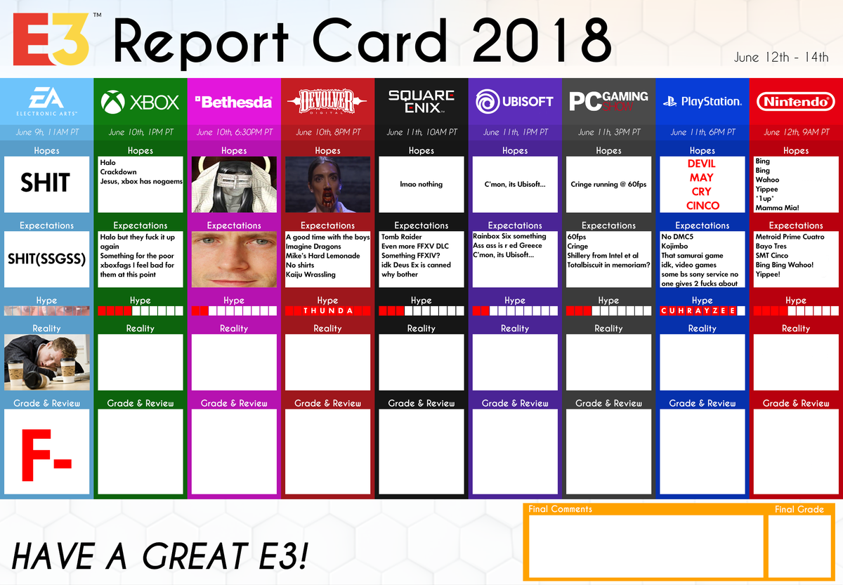 kaleb on twitter updated my e3 report card after ea s conference