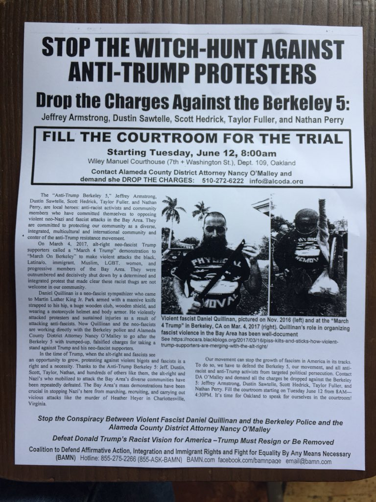 Stop the Witch Hunt Against Anti-Trump Protesters - Court Support @ Wiley Manuel Courthouse, Dept 109 | Oakland | California | United States