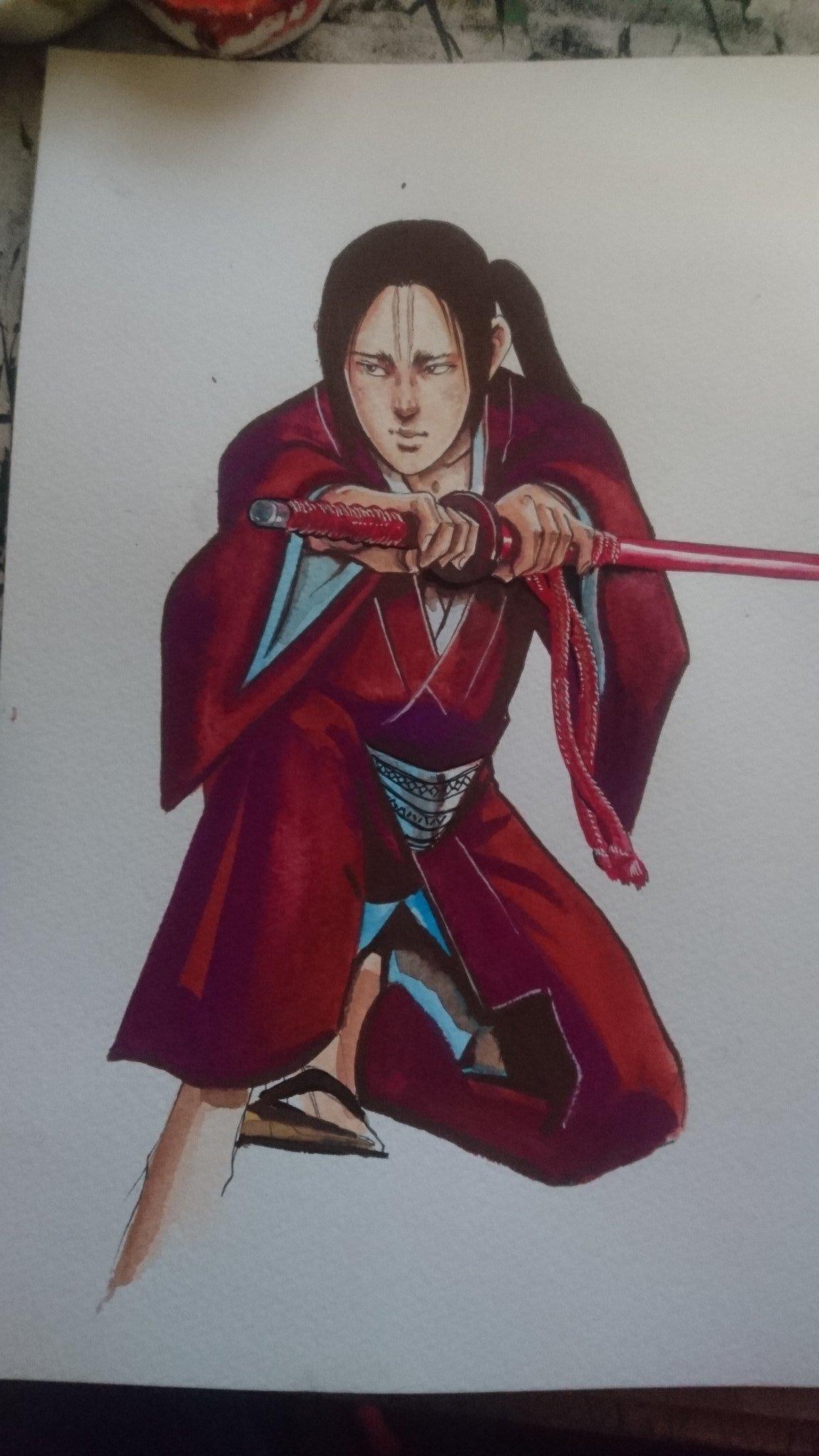 """藤原芳秀 on twitter: """"急なイラスト依頼「死神 幻十郎」作画中ー。… """""""