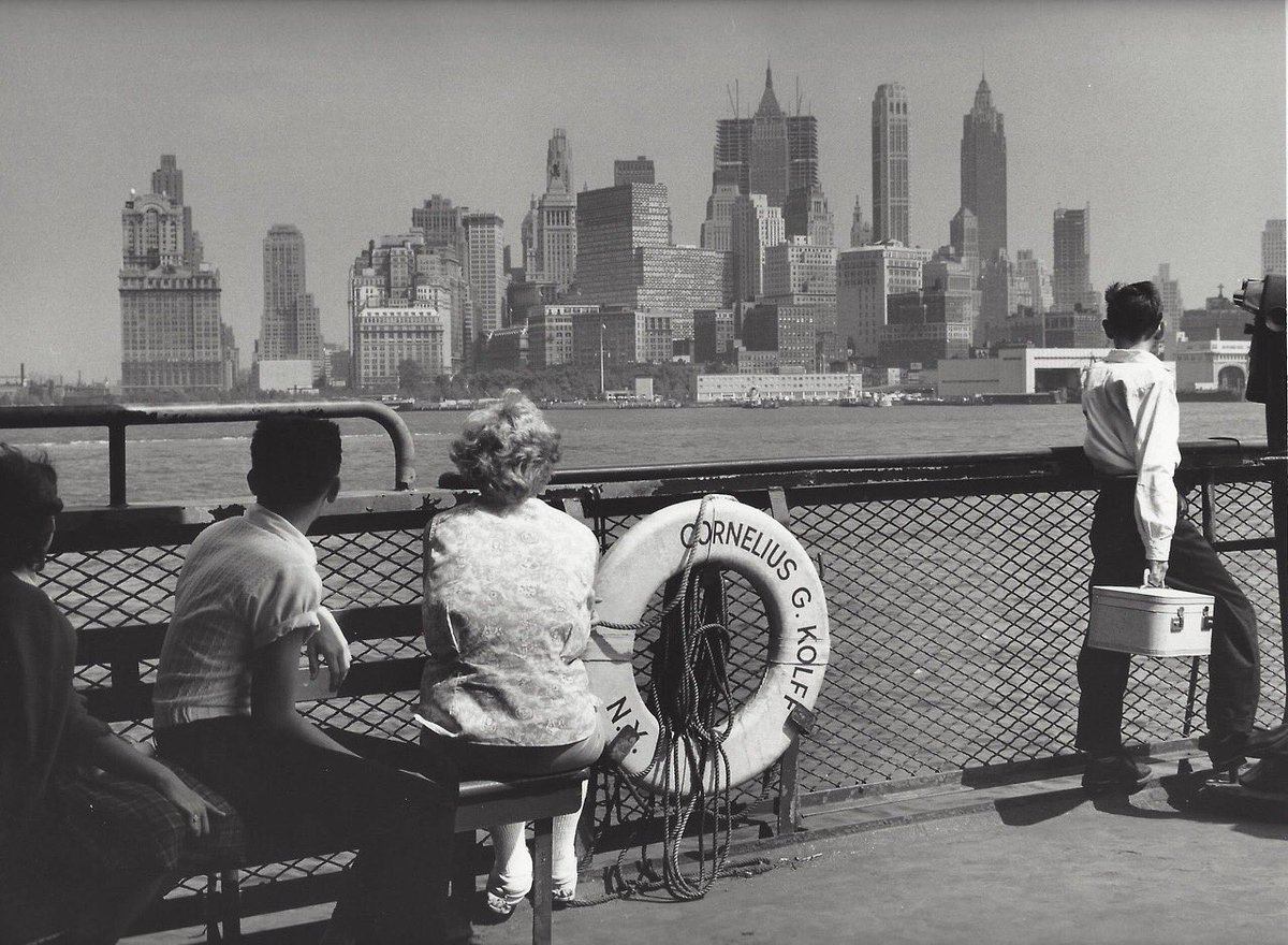 """""""All human beings are dream beings.  Dreaming ties all mankind together""""  Jack Kerouac   Photography © Kees Scherer Staten Island Ferry 1959. <br>http://pic.twitter.com/L3WT1AksBs"""