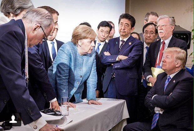 The degree to which that Trump/#G7 photo re-enacts Norman Rockwell's 'Jury Room' is almost spooky. https://t.co/uOBLKxbDZd