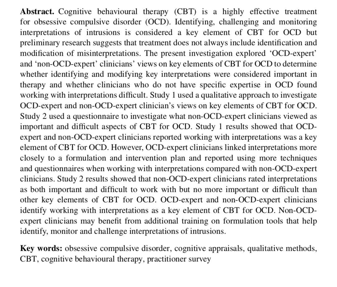 cbt therapy for ocd What is cognitive behavioral therapy and how might it be effective for someone with ocd fitzgerald : cbt is a psychological treatment or talk therapy one particular type of cbt, exposure and response prevention, is effective for treating ocd.