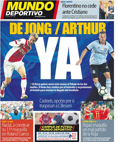 Dutch Football On Twitter Ajax Midfielder Frenkie De Jong Once Again On The Front Page Of Mundo Deportivo They State Barcelona Reps Will Meet De Jong S Agents On Monday To Secure A