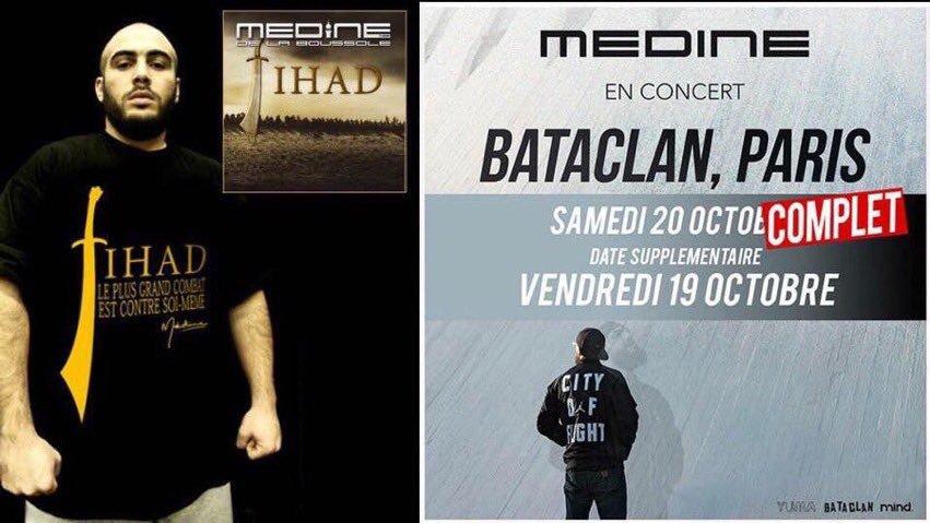 Les concerts du rappeur Médine, prévus au Bataclan les 19 et 20 octobre prochains, vont finalement être reportés au Zénith de Paris, le 9 février 2019. La salle de concert parle d'«une volonté d'apaisement», le rappeur d'une décision «douloureuse».