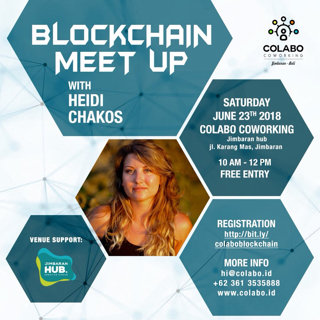 @blockchainchick re: #Bitcoin meet up for my #crypto family in Bali. Hope to see you there! $btc > Sounds like another great #blockchain #meetup, Heidi! Hope things are going well with you. cc @Hoard @JasonBDavis @dan_lipert @AdeldMeyer @adryenn