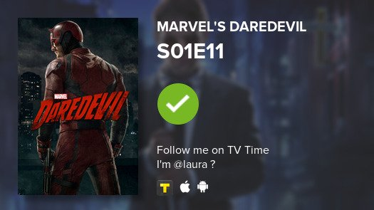 I've just watched episode S01E11 of Marvel's Daredevil! #daredevil  #tvtime https://t.co/LQXpuPk7MJ https://t.co/yxuKiOYZod