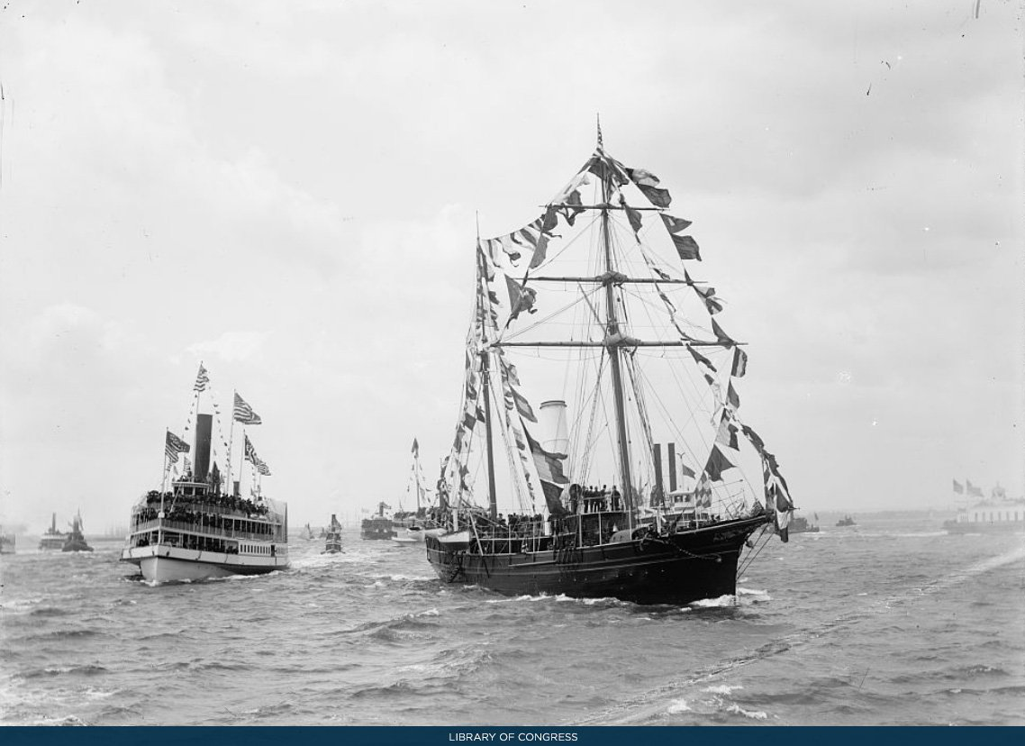On April 29, 1889, President Harrison marked the centennial of George Washington's inauguration by retracing the final leg of the route that Washington took to reach his swearing-in ceremony in New York City. Here, USS Despatch carries President Harrison to New York Harbor.