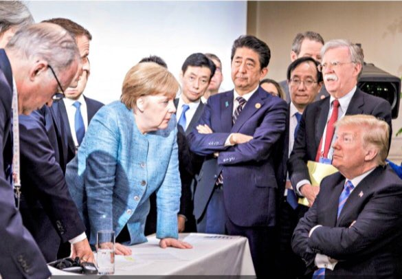 This Is What #AmericaFirst Looks Like The Boss #PresidentTrump In Charge Holding Court With Parasite Globalists We Will NOT Be The Worlds Piggy Bank @realDonaldTrump #G72018 #G7Summit
