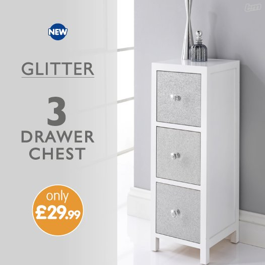 B M Stores On Twitter This Stunning Glitter Drawer Chest Is A Beautiful Addition To Any Room Especially If You Ve Went For A Silver Theme With 3 Drawers It S Also A Great Size