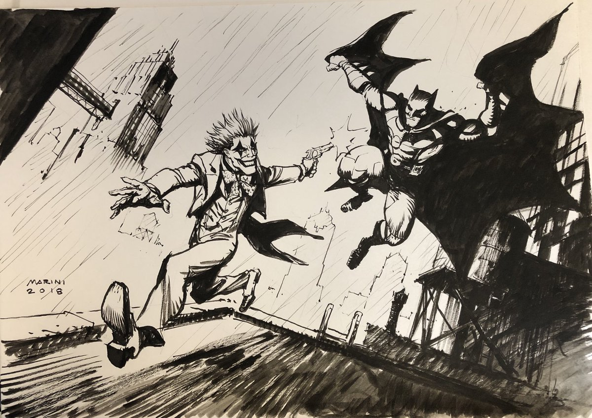 Enrico Marini On Twitter Batman Vs Joker Dessin A3 Realise