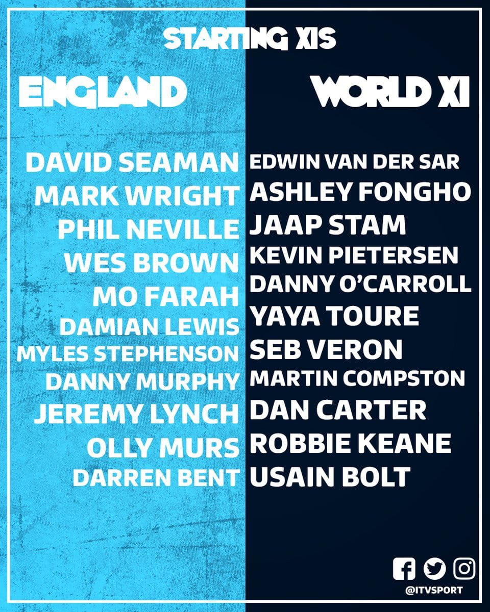 Our very own @WesBrown24 playing for the England team tonight! Good luck mate and please everyone try to donate what ever you can #Unicef #england #OldTrafford #itv @ITV #SoccerAid2018