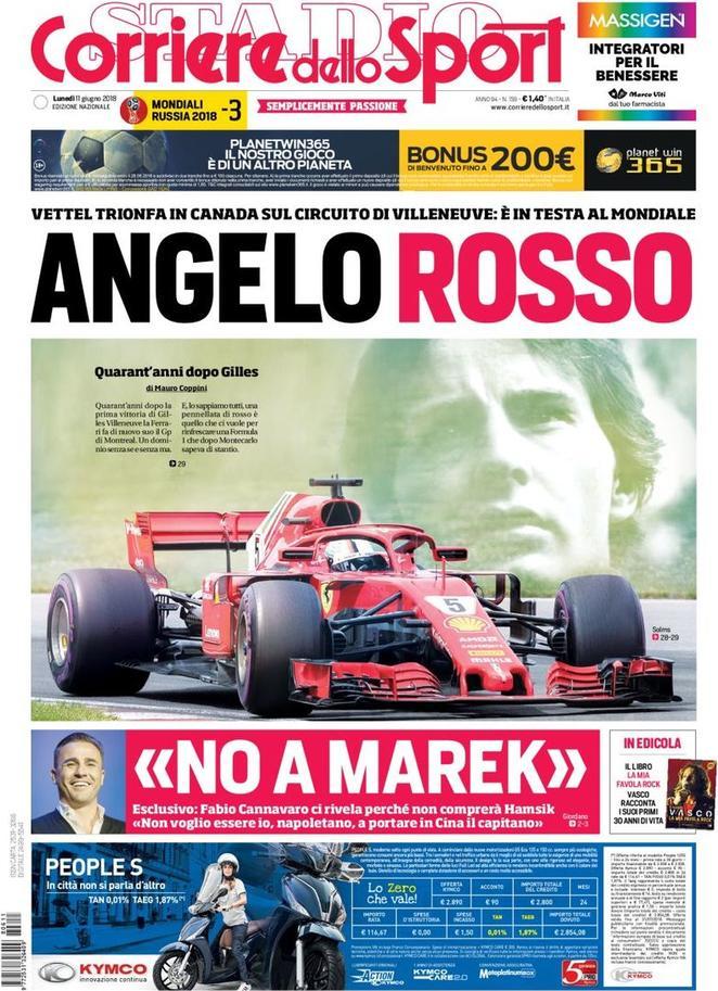 #RassegnaStampa - La prima pagina del 'Corriere dello Sport' in edicola lunedì 11 giugno https://t.co/RGGLu99KYD