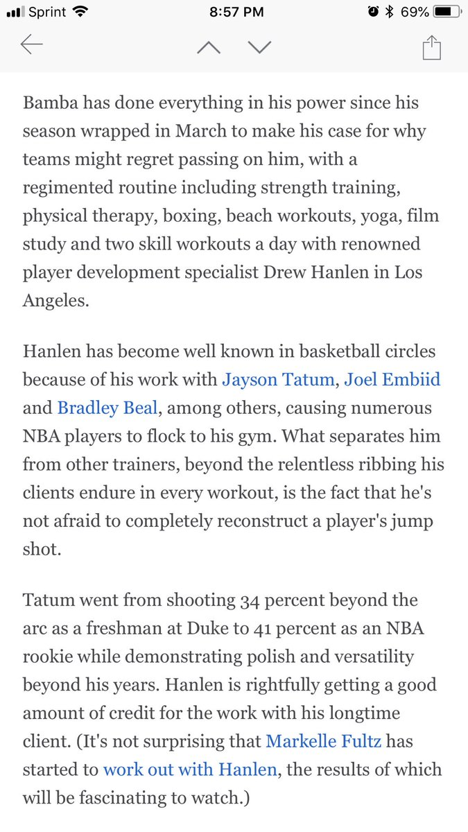 Finished reading the @espn article that included my man and mentor @DrewHanlen There is a reason he is the GOAT at getting players READY!