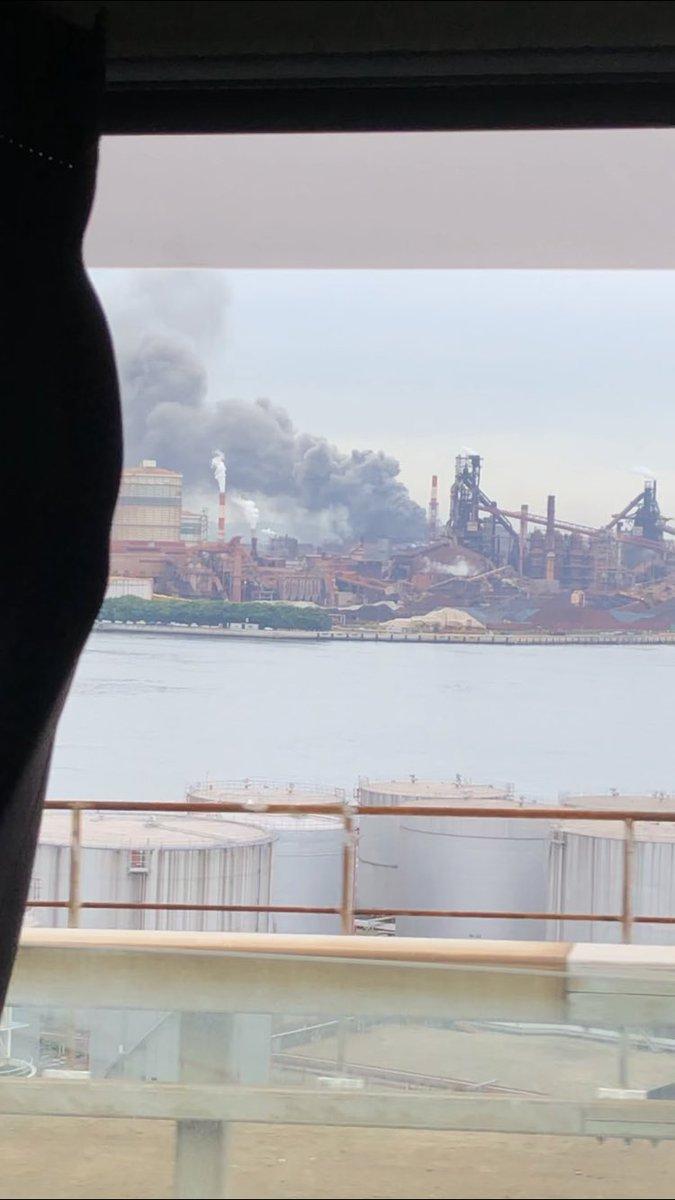 新日鉄住金(新日鐵住金)の火事現場の写真画像