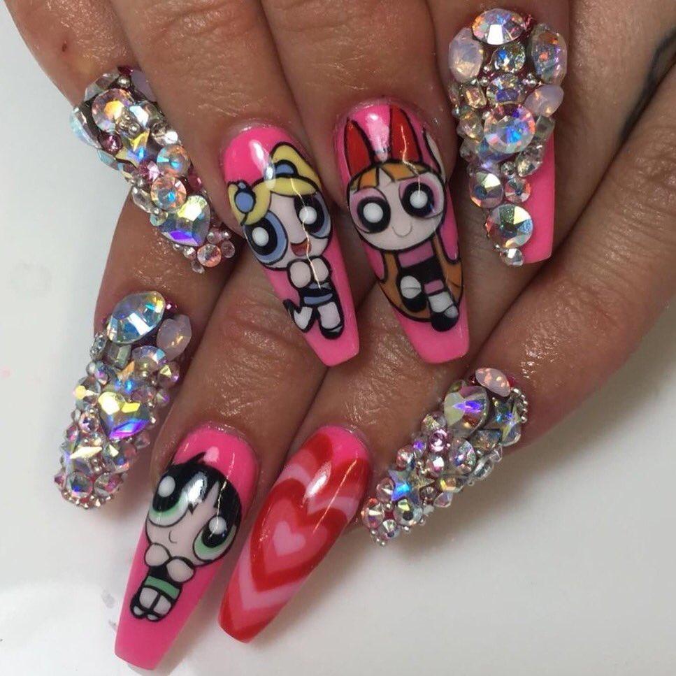 Nailz By Dev On Twitter Powerpuff Girls Handpainted By Me