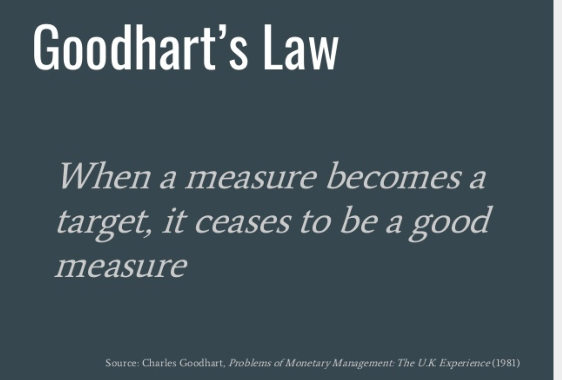 """""""When a measure becomes a target, it ceases to be a good measure."""""""