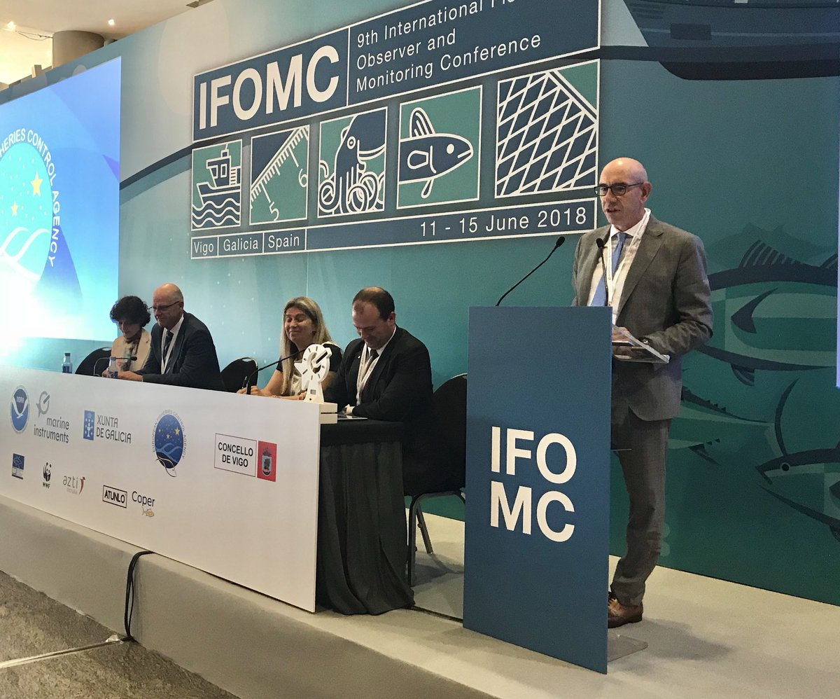 """International commitments call for #MarineProtectedArea superficies to restore fragile ecosystems.   Human observers are instrumental for curbing uncompliant behaviours.""  EFCA Executive Director, Pascal Savouret, at @IFOMCVigo  #Fisheries #fisheriescontrol #IFOMC<br>http://pic.twitter.com/LY4ApH8MXQ"