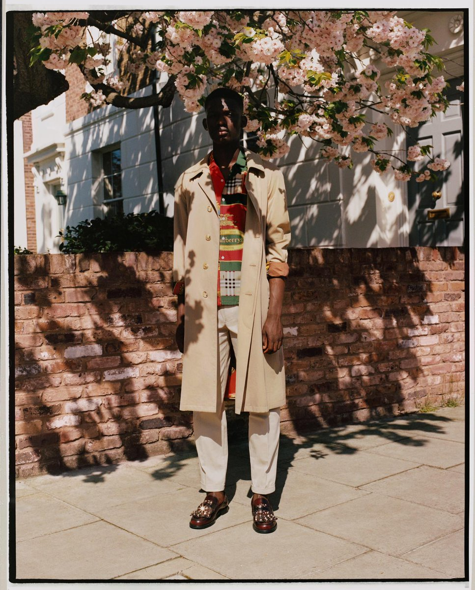Malick wears our iconic trench coat and an archival scarf print silk shirt. Our new Autumn/Winter Pre-Collection, captured on location in London in a #BurberryPhotoSeries by Laurence Ellis brby.co/71j