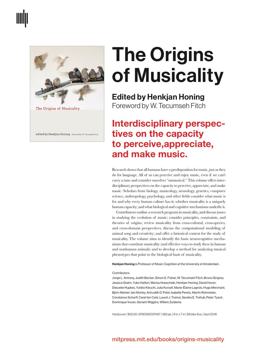'The Origins of Musicality' is out now; Please share! @mitpress