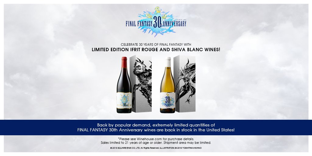 By popular demand, limited FINAL FANTASY 30th Anniversary wines are back! Get Ifrit Rouge or Shiva Blanc: sqex.link/FF30wine *Sales limited to ages 21 or older. Shipment to United States only. *Please see Winehouse.com for details. Shipment area may be limited.