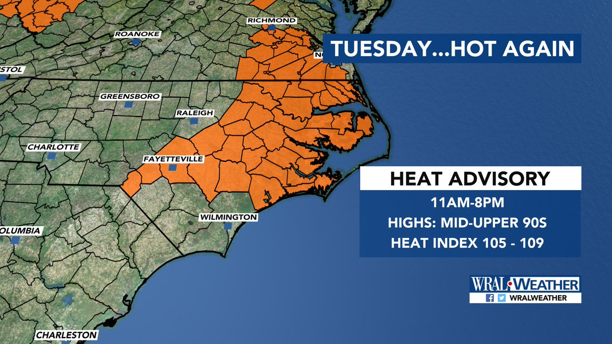 JUST IN: A heat advisory has been issued for parts of #wral <br>http://pic.twitter.com/SSvrUdGlcB