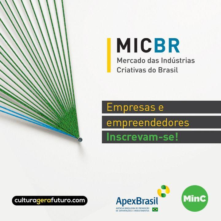 As inscrições para o edital do #MicBR terminam dia 27 de junho. O #MinC e a @ApexBrasil vão dar uma mãozinha a 180 empreendedores brasileiros, experientes e iniciantes, que receberão apoio financeiro para participar: https://t.co/mBMxUPyOev  #culturagerafuturo