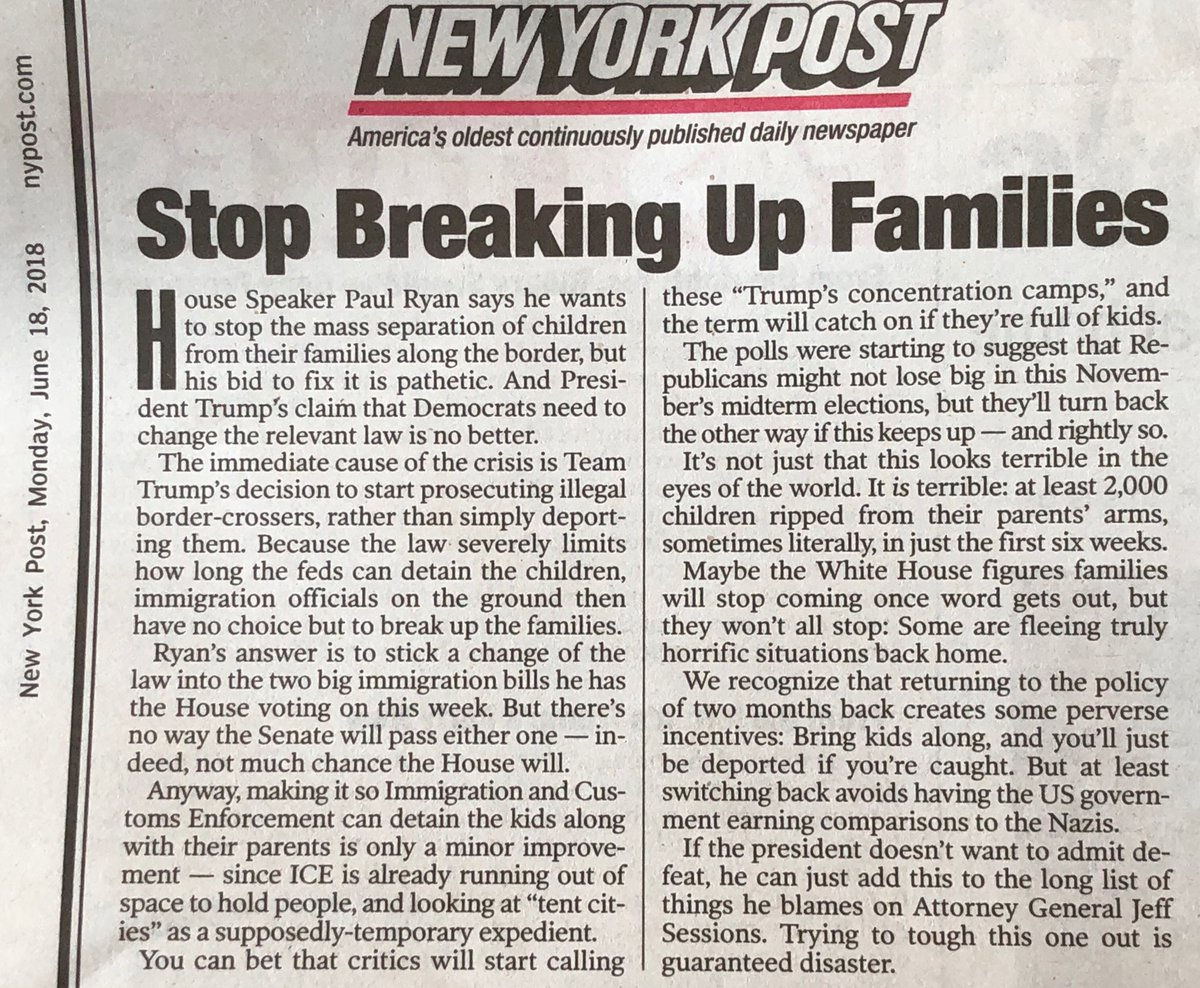 "The stunning editorial disconnect between Rupert Murdoch's @nypost &  con@FoxNewstinues. Post calls Trump & Paul Ryan ""pathetic,"" says they deserve to lose 2018 elections for ""breaking up families."""