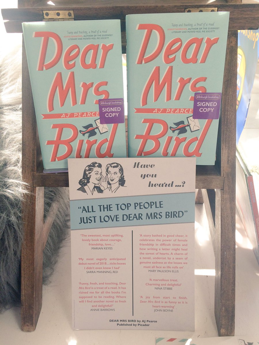 "Edinburgh Bookshop على تويتر: ""Lovely to meet @ajpearcewrites, author of Dear  Mrs Bird, this afternoon. We hope you're feeling better soon."