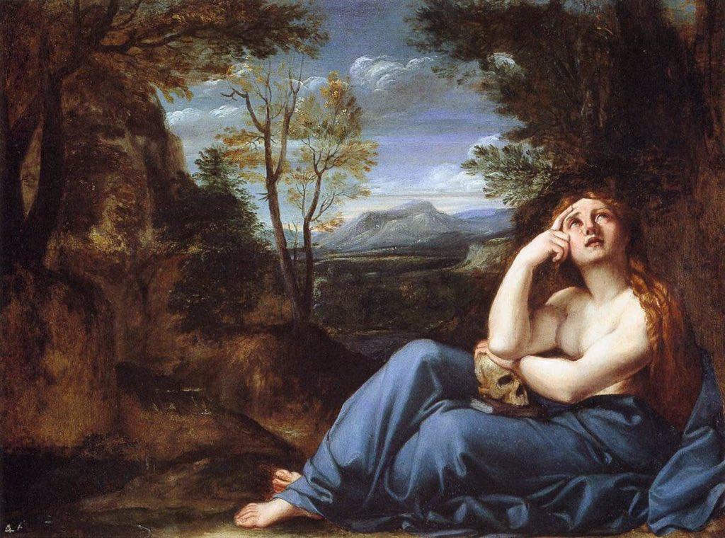 La bellezza corporea, la pace paesaggistica ed una intensa introspezione caratterizzano la Maddalena penitente di Annibale Carracci (1598ca, @FitzMuseum_UK ). Qual è #laprimaparola che vi viene in mente osservando il dipinto?