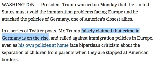 Does someone feed Trump false info about crime here and abroad? Is it just what he assumes must be happening, because dark-skinned people? Or is it a lie he knows his base will accept? https://t.co/l4IganYA3c
