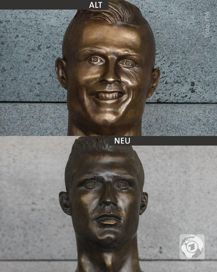 Die berühmte Büste von Cristiano #Ronaldo am Flughafen von Madeira ist ausgetauscht worden.