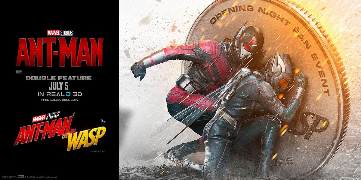 On July 5, see both @AntMan and an early showing of #AntManandtheWasp in @RealD3D! Plus, receive a collectible coin & regular popcorn with your ticket. Get tix now: amc.film/2JYEasB