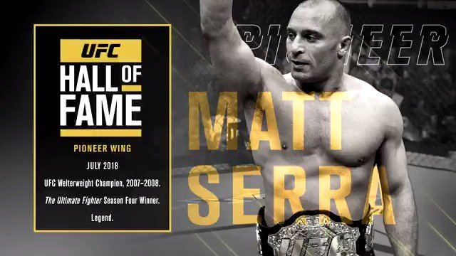 ICYMI: @MattSerraUFC will be inducted into the #UFCHoF this summer! Tickets are on-sale NOW ➡️ bit.ly/2ykW870